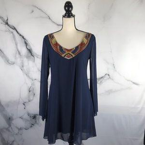 CITY TRIANGLES bead & sequin collar shift dress
